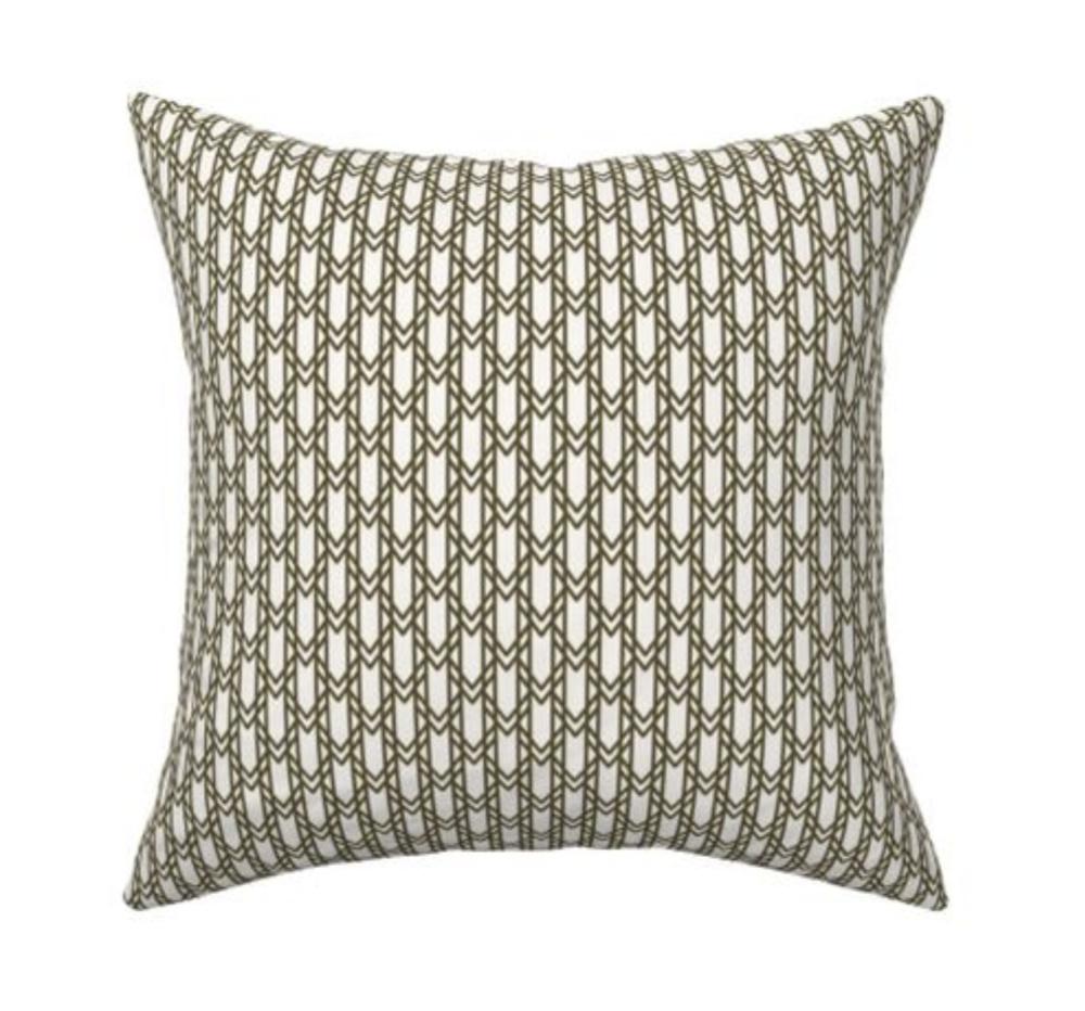 olive green geometric trellis linen pillow motif motif